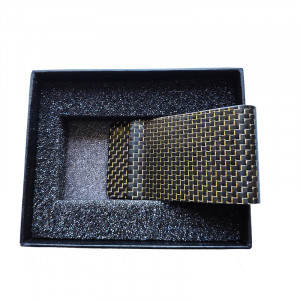 Carbon Fiber Money Clip With Gold Silk