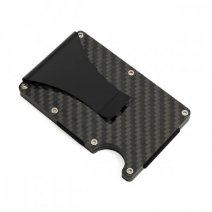 Men Carbon Fiber RFID Blocking Slim Wallet credit card holder magnet money clip